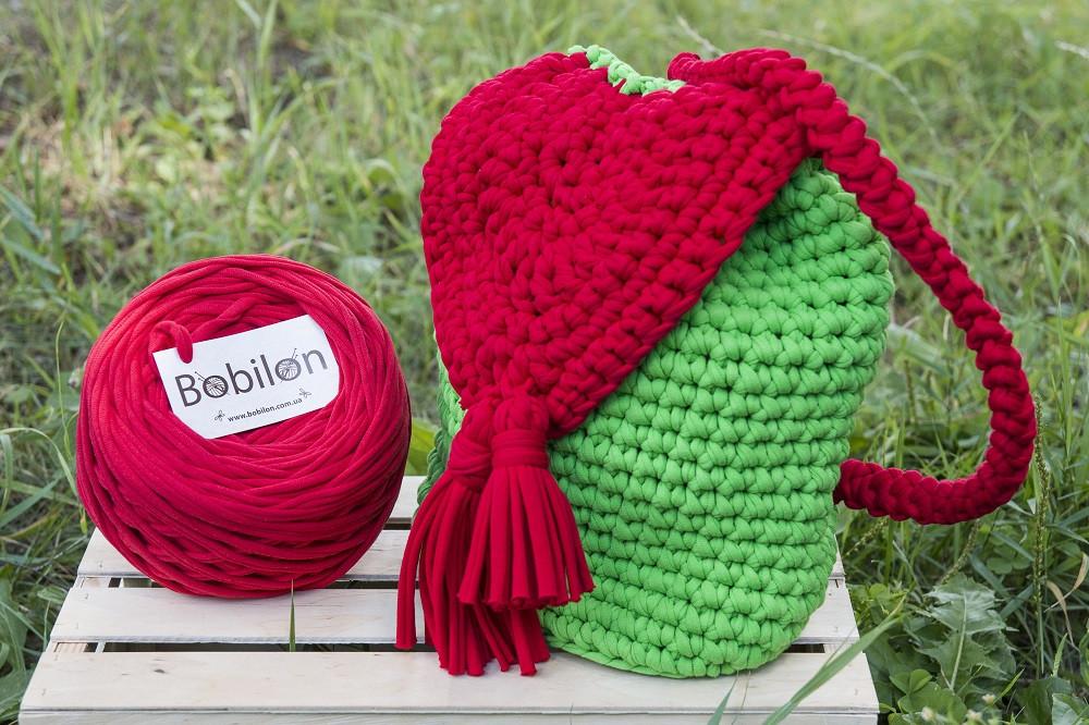 fe7fb82e7539 Вязаный рюкзак крючком из трикотажной пряжи красно-зеленый, цена 780 грн.,  купить в Харькове — Prom.ua (ID#379447866)
