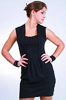 Женское платье без рукавов черное Анфиса