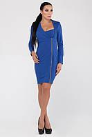 Платье синее облегающее деловое Флирт