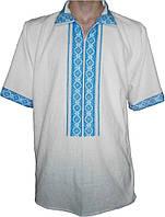 """#вишиванка чоловіча """"Національна"""" вишита блакитними нитками (Арт. 00307)"""