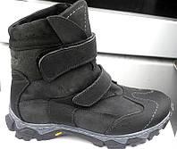 Ботинки подростковые зимние кожаные на липучках черные с коричневым Украина Uk0025