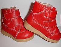 Ботинки детские зимние, кожаные  на девочку / утеплённые с мехом /красные/ размер 19-20 стелька 13см