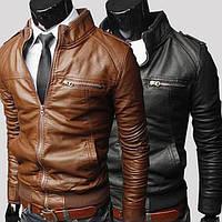 Стильная мужская куртка из кожзама Marble Eco Leather 6457