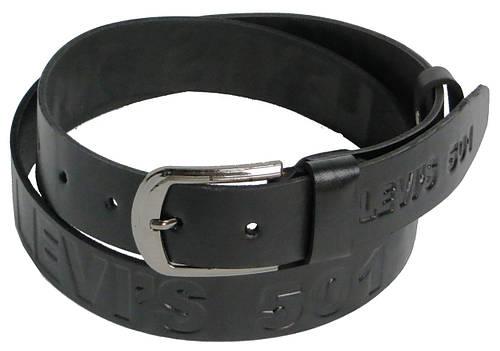 Мужской кожаный ремень под джинсы Skipper 3679-3 LEVI'S черный ДхШ: 138х4 см.