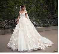 Свадебное платье Мила спадающее кружево, фото 1
