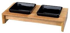 Trixie Миска керамическая в деревянной подставке , 2 x 0.4 л, 36 x 19 x 7 см, миски-черные