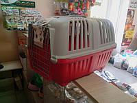 Переноска для животных Pratico красная с металлической дверцей