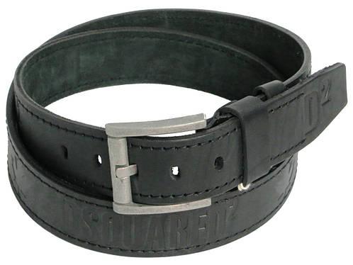 Мужской кожаный ремень под джинсы Skipper 3671-3 Dsquared2 чёрный ДхШ: 137х4,5 см.