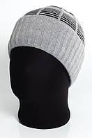 Классическая мужская шапка с отворотом и комбинированным верхом Atis Atis светло-серый