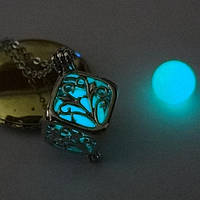 [ Кулон Куб светящийся ] Винтажный кулон на шею Кулон, 10, 500, Для женщин, Винтаж, Квадратная форма, 10, Бирюзовый, да, 10