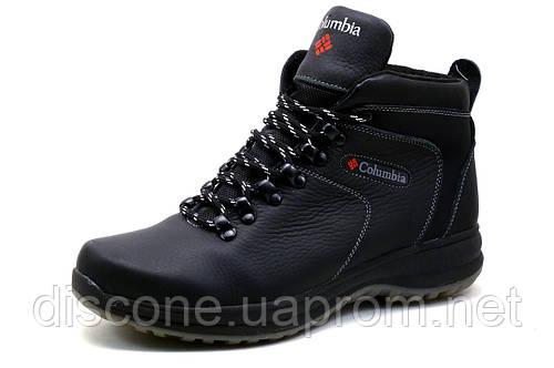 Ботинки зимние Columbia, мужские, на меху,  натуральная кожа, черные