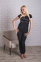 Костюм женский со штанами черный, фото 1