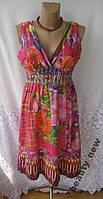 Новое яркое платье с декором NEW YORK хлопок М 46 - 48