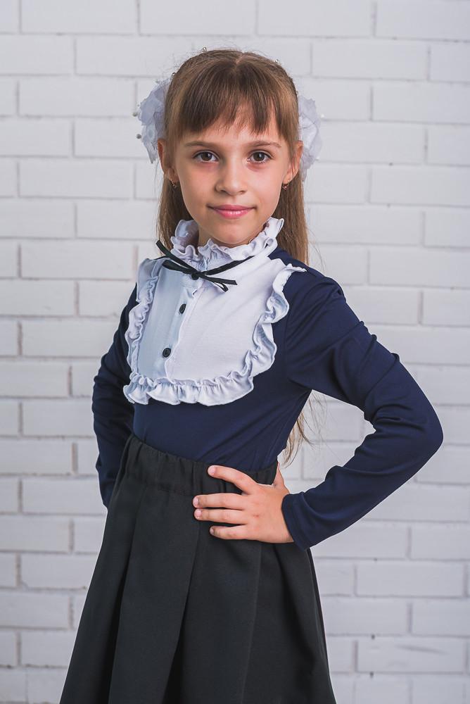 Блузка для девочки темно-синяя