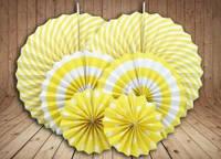 Набор бумажных вертушек для декора 6 шт., желтые