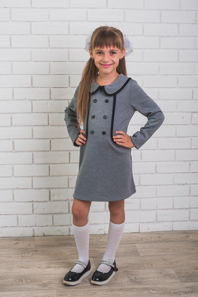 Школьное платье для девочки светло-серое