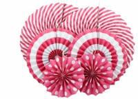 Набор бумажных вертушек для декора 6 шт., малиновые