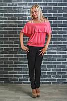 Костюм женский с блузкой 42-54 р. коралл, фото 1