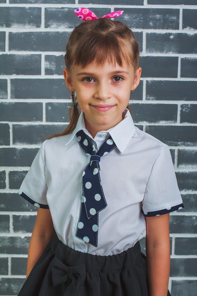 Блузка для девочки с галстуком в горошек, фото 1