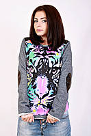 Свитшот женский джинс кожа 1345 тигр, женский свитшот, дропшиппинг украина