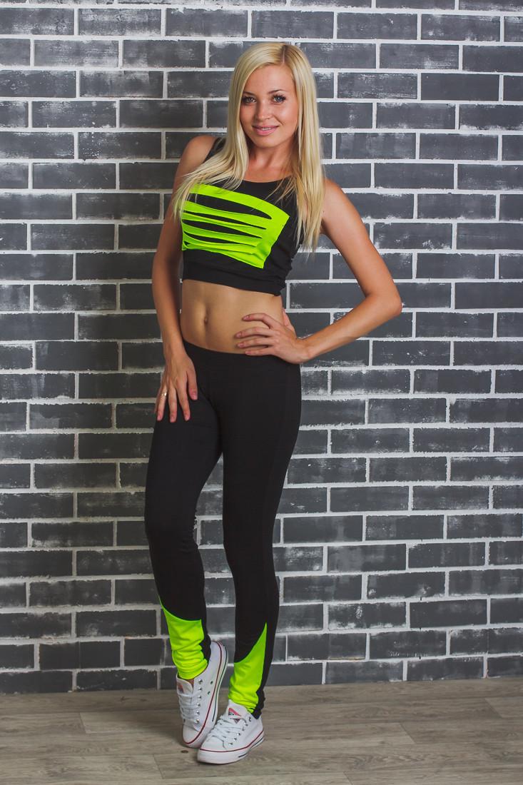 Костюм спортивный женский топ+штаны салат