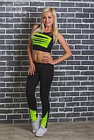 Костюм спортивный женский топ+штаны салат, фото 1