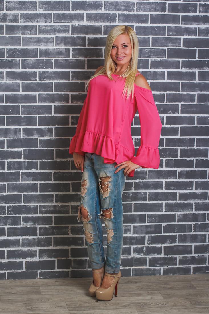 Стильная блуза женская коралл