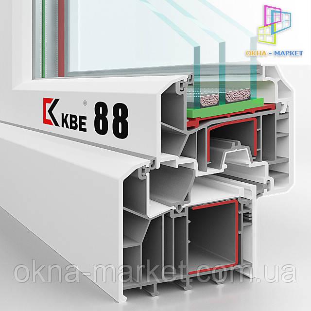 Система профиля 88 в разрезе, киевская компания Окна Маркет