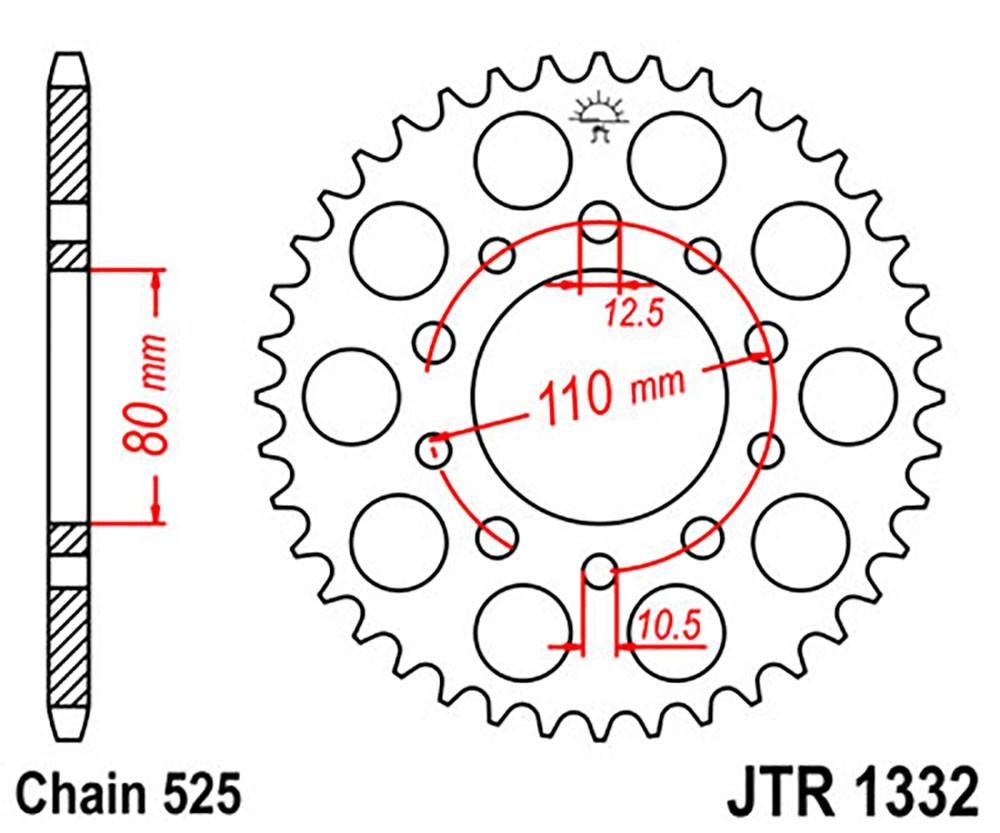 Звезда задняя JT JTR1332.38