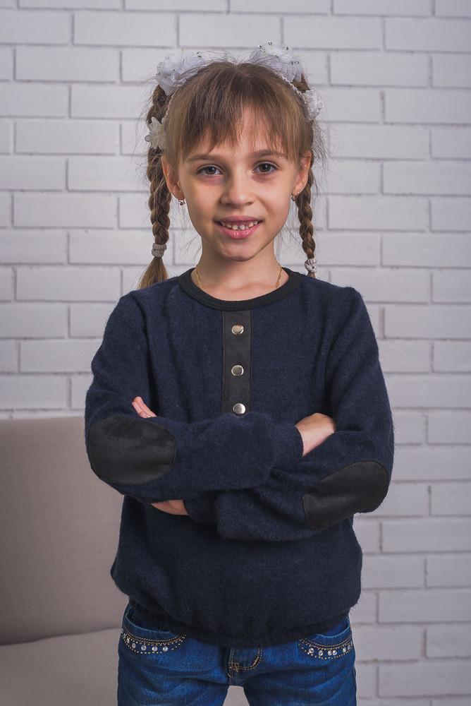 Детская кофта из ангоры с латками, темно-синяя