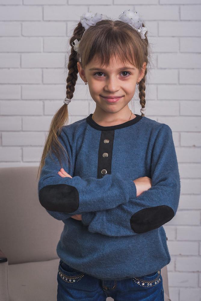 Детская кофта из ангоры с латками,  индиго