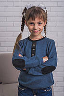 Детская кофта из ангоры с латками,  индиго, фото 1