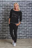 Женский велюровый костюм  черный, фото 1