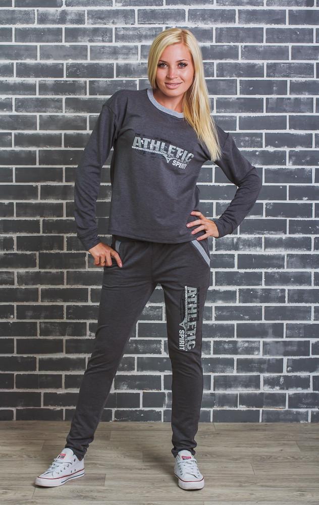 Женский спортивный  костюм (42-54р) темно-серый