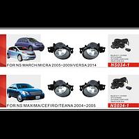 Противотуманные фары Vitol NS-034-1 Nissan Maxima/Teana 04-05 Altima/Qashqai -08 Micra 05-09 эл.пров