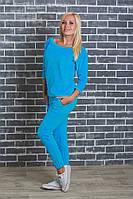 Женский велюровый костюм  голубой, фото 1