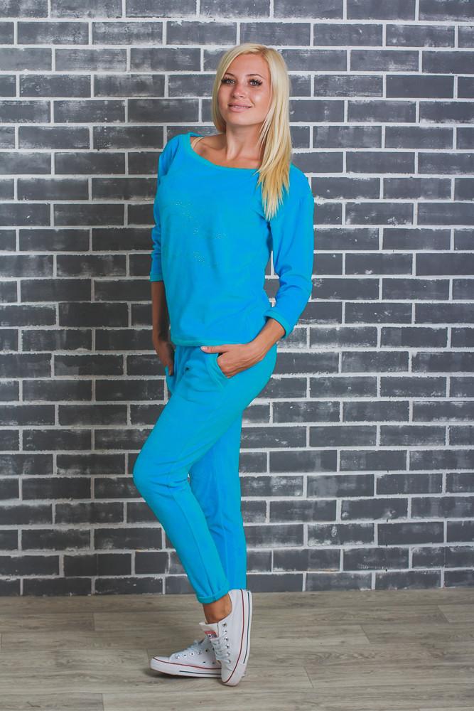 Женский велюровый костюм  голубой