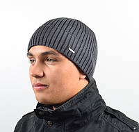 Мужская вязанная шапка с отворотом (С.Р.Ж.)