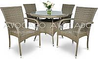 Комплект  ROMA / RAMINI   GREY стол 80см +4 кресла