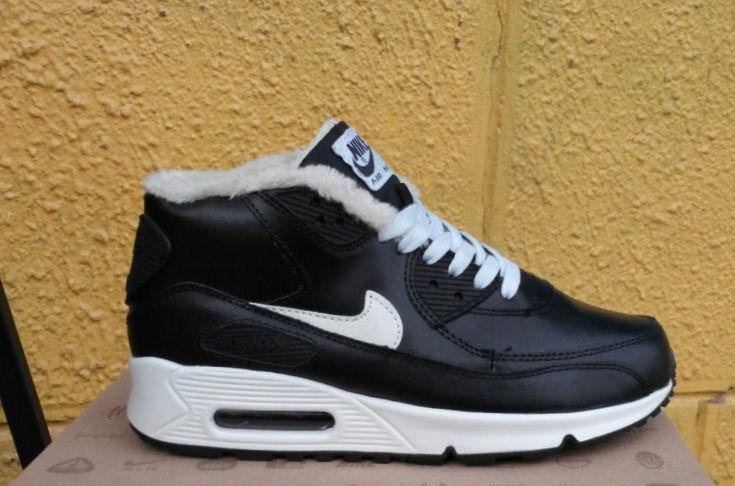 Зимние кроссовки Nike Air Max 90 с мехом черные (Реплика ААА+) - Интернет a8fe7540bd8