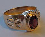 Кольцо мужское 3097Г, золото 585 проба, натуральный гранат., фото 2