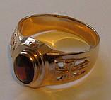 Кольцо мужское 3097Г, золото 585 проба, натуральный гранат., фото 3