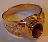Кольцо мужское 3097Г, золото 585 проба, натуральный гранат., фото 4