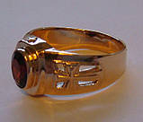 Кольцо мужское 3097Г, золото 585 проба, натуральный гранат., фото 5
