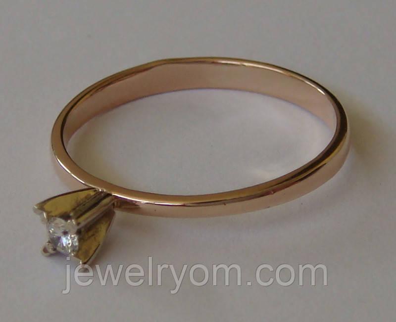 Кольцо ЮМБ, золото 585 проба, бриллиант 0,03кт.
