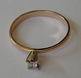 Кольцо ЮМБ, золото 585 проба, бриллиант 0,03кт., фото 4