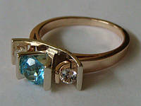 Кольцо КБ331МД, золото 585 проба, топазы., фото 1