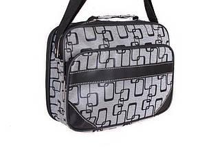 Мужская сумка тканевая со вставками из экокожи через плечо серая