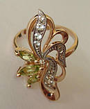 Кольцо К3920ММ, золото 585 проба, хризолиты, топазы., фото 4