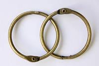 Кольцо металлическое разъемное пара 35 мм для блокнота альбома скрапбукинга состаренная медь винтаж